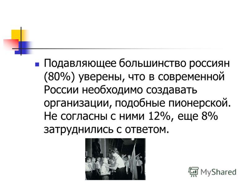 Подавляющее большинство россиян (80%) уверены, что в современной России необходимо создавать организации, подобные пионерской. Не согласны с ними 12%, еще 8% затруднились с ответом.