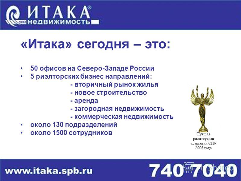 «Итака» сегодня – это: 50 офисов на Северо-Западе России 5 риэлторских бизнес направлений: - вторичный рынок жилья - новое строительство - аренда - загородная недвижимость - коммерческая недвижимость около 130 подразделений около 1500 сотрудников