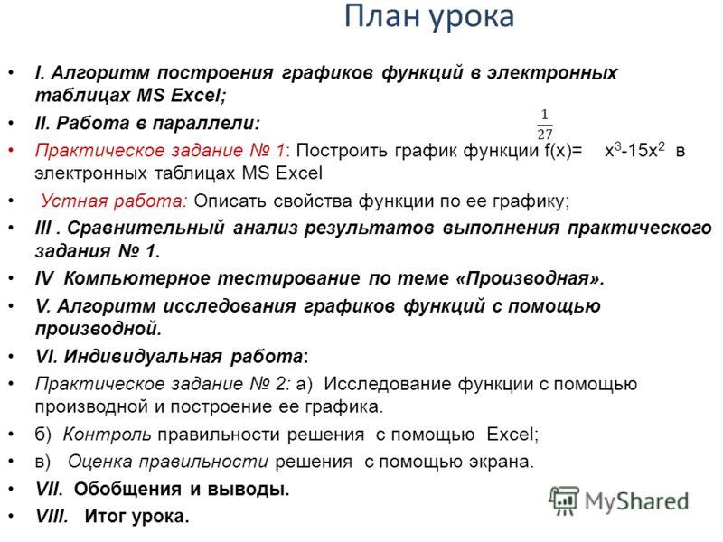 План урока І. Алгоритм построения графиков функций в электронных таблицах MS Excel; ІІ. Работа в параллели: Практическое задание 1: Построить график функции f(x)= x 3 -15x 2 в электронных таблицах MS Excel Устная работа: Описать свойства функции по е