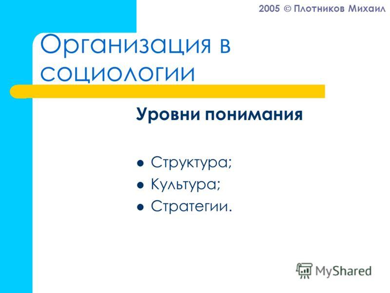 2005 Плотников Михаил Организация в социологии Уровни понимания Структура; Культура; Стратегии.