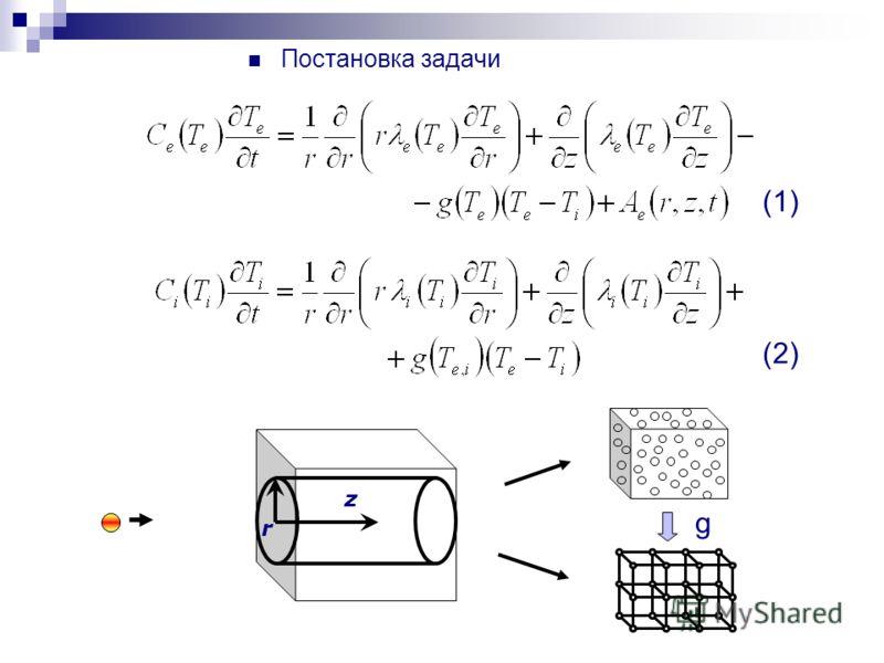 Постановка задачи r z g (1) (2)