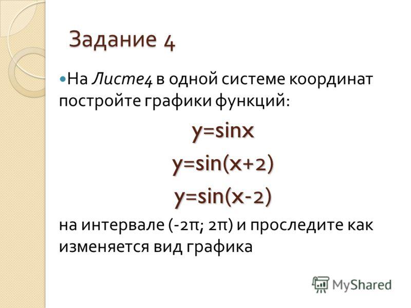 Задание 4 На Листе 4 в одной системе координат постройте графики функций : y=sinx y=sin(x+2) y=sin(x-2) на интервале (-2 π ; 2 π ) и проследите как изменяется вид графика