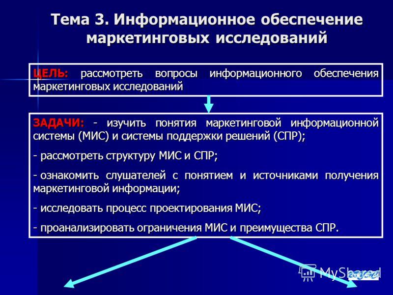 Тема 3. Информационное обеспечение маркетинговых исследований ЦЕЛЬ: рассмотреть вопросы информационного обеспечения маркетинговых исследований ЗАДАЧИ: - изучить понятия маркетинговой информационной системы (МИС) и системы поддержки решений (СПР); - р