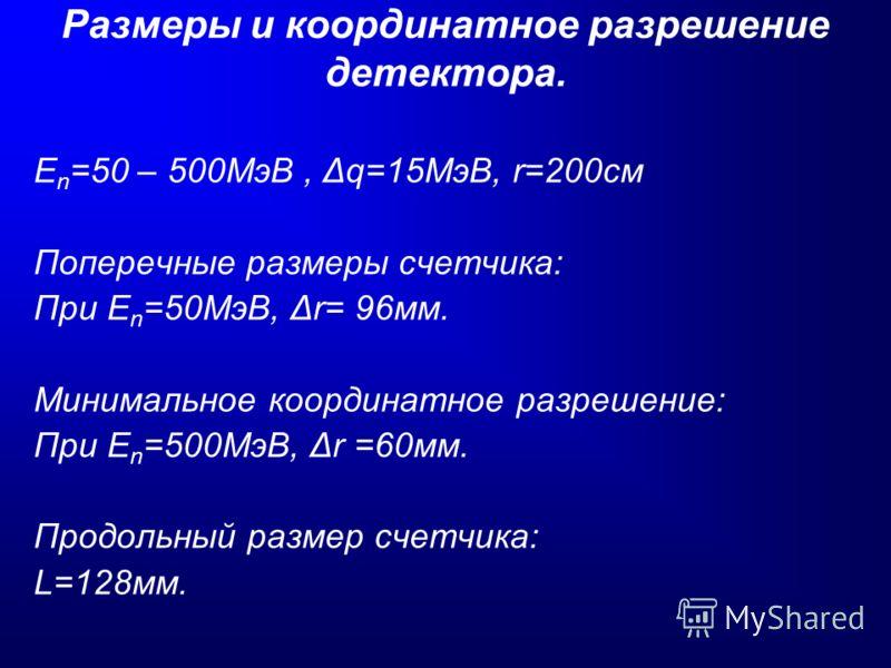 Размеры и координатное разрешение детектора. E n =50 – 500МэВ, Δq=15МэВ, r=200см Поперечные размеры счетчика: При E n =50МэВ, Δr= 96мм. Минимальное координатное разрешение: При E n =500МэВ, Δr =60мм. Продольный размер счетчика: L=128мм.