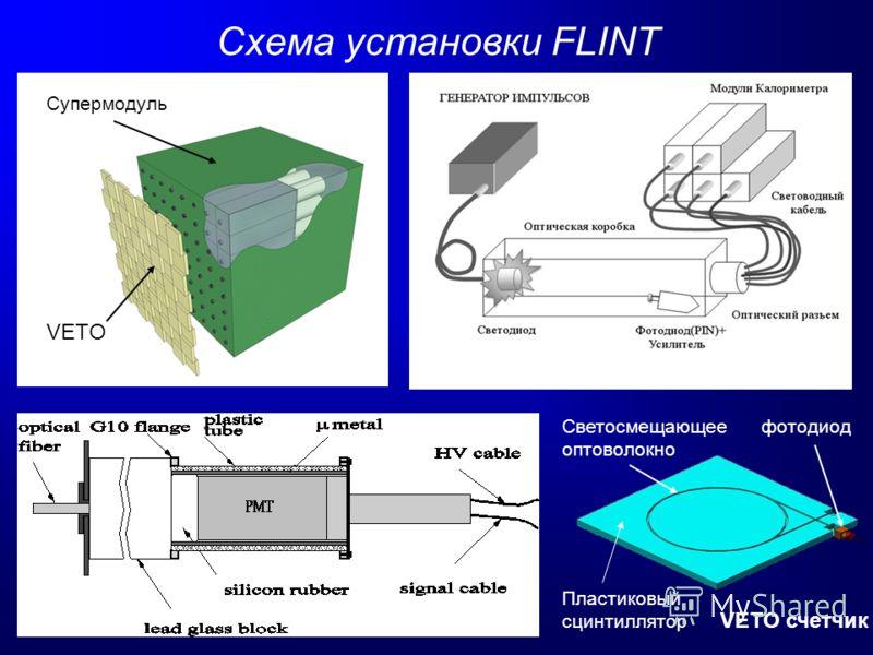 Схема установки FLINT VETO счетчик Светосмещающее оптоволокно Пластиковый сцинтиллятор фотодиод Супермодуль VETO