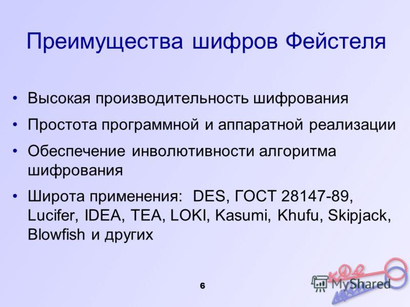 Преимущества шифров Фейстеля Высокая производительность шифрования Простота программной и аппаратной реализации Обеспечение инволютивности алгоритма шифрования Широта применения: DES, ГОСТ 28147-89, Lucifer, IDEA, TEA, LOKI, Kasumi, Khufu, Skipjack,