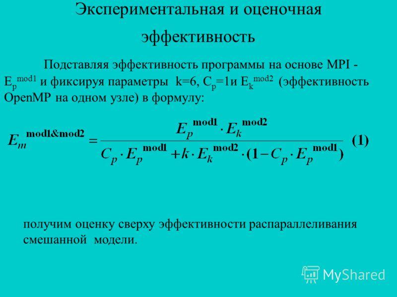 Экспериментальная и оценочная эффективность Подставляя эффективность программы на основе MPI - E p mod1 и фиксируя параметры k=6, C p =1и E k mod2 (эффективность OpenMP на одном узле) в формулу: получим оценку сверху эффективности распараллеливания с