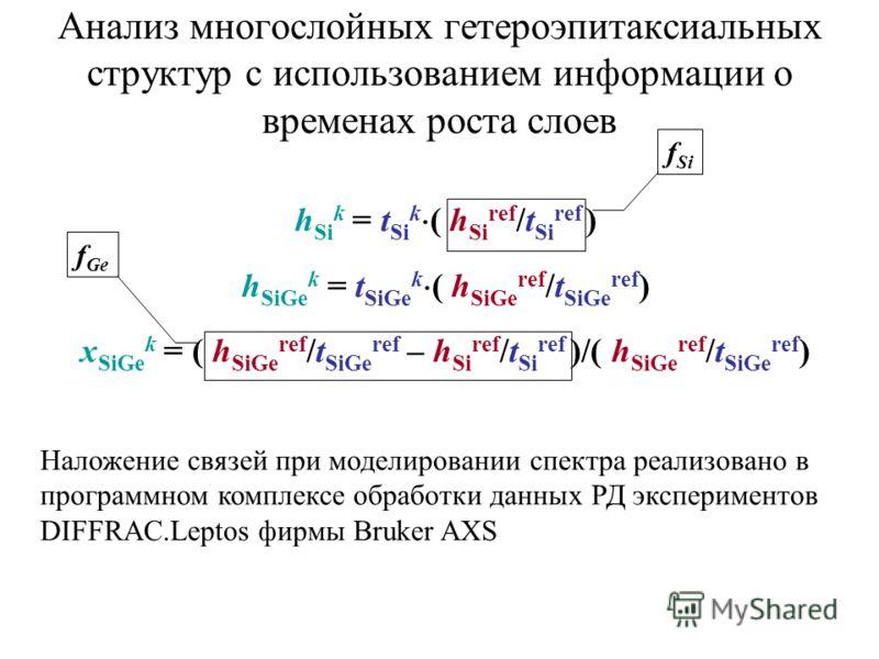 Анализ многослойных гетероэпитаксиальных структур с использованием информации о временах роста слоев h Si k = t Si k ( h Si ref /t Si ref ) h SiGe k = t SiGe k ( h SiGe ref /t SiGe ref ) x SiGe k = ( h SiGe ref /t SiGe ref – h Si ref /t Si ref )/( h