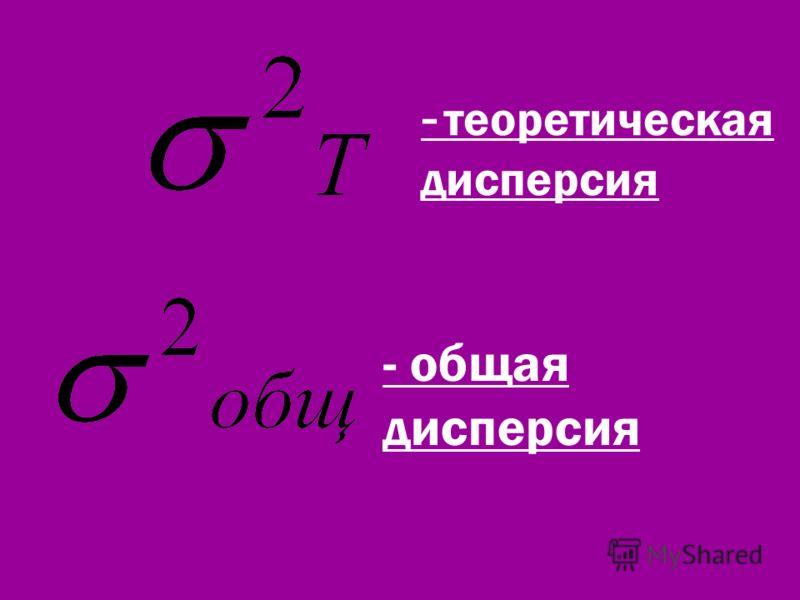 - теоретическая дисперсия - общая дисперсия