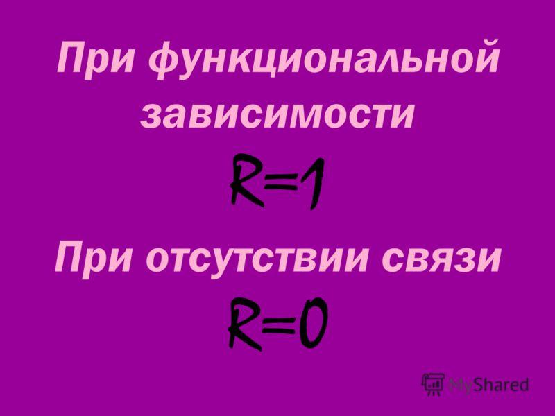 При функциональной зависимости R=1 При отсутствии связи R=0