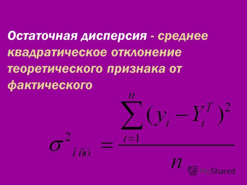 Остаточная дисперсия - среднее квадратическое отклонение теоретического признака от фактического