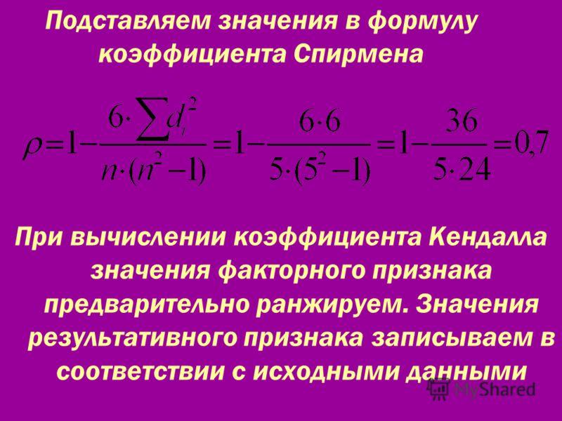 Подставляем значения в формулу коэффициента Спирмена При вычислении коэффициента Кендалла значения факторного признака предварительно ранжируем. Значения результативного признака записываем в соответствии с исходными данными