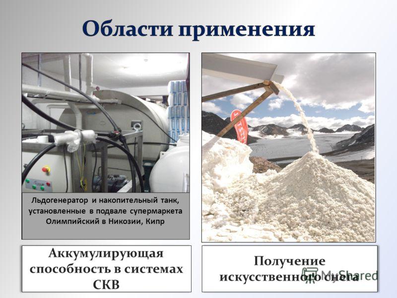 Аккумулирующая способность в системах СКВ Получение искусственного снега Льдогенератор и накопительный танк, установленные в подвале супермаркета Олимпийский в Никозии, Кипр