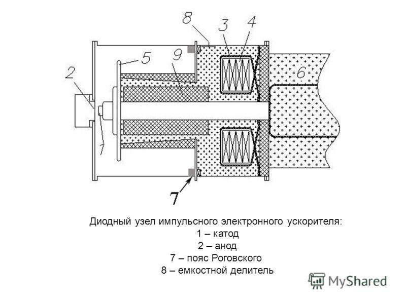 Диодный узел импульсного электронного ускорителя: 1 – катод 2 – анод 7 – пояс Роговского 8 – емкостной делитель