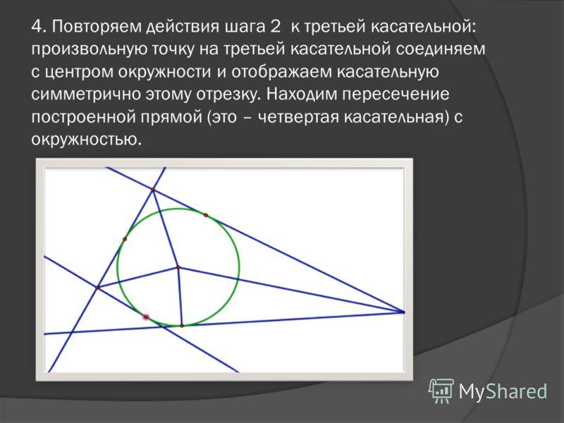 4. Повторяем действия шага 2 к третьей касательной: произвольную точку на третьей касательной соединяем с центром окружности и отображаем касательную симметрично этому отрезку. Находим пересечение построенной прямой (это – четвертая касательная) с ок