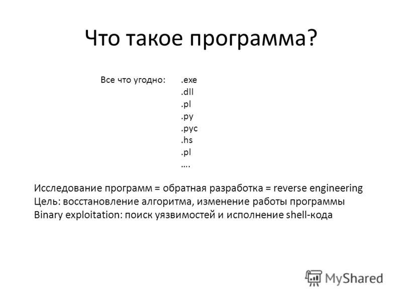 Все что угодно:.exe.dll.pl.py.pyc.hs.pl …. Исследование программ = обратная разработка = reverse engineering Цель: восстановление алгоритма, изменение работы программы Binary exploitation: поиск уязвимостей и исполнение shell-кода