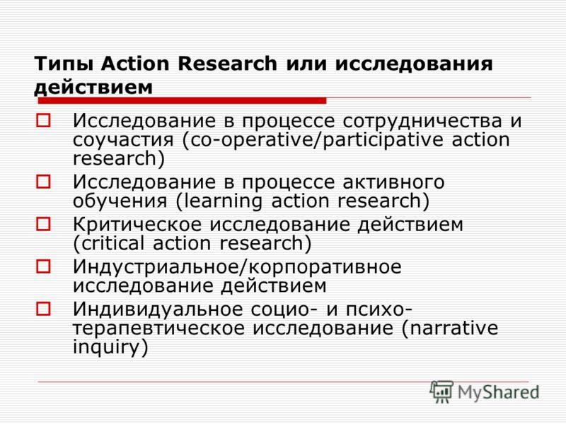 Типы Action Research или исследования действием Исследование в процессе сотрудничества и соучастия (co-operative/participative action research) Исследование в процессе активного обучения (learning action research) Критическое исследование действием (