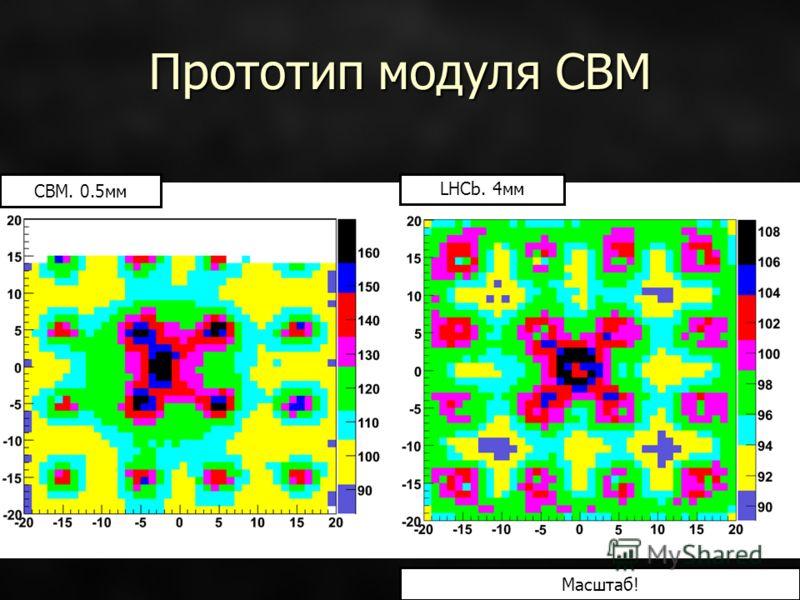 Прототип модуля CBM CBM. 0.5мм LHCb. 4мм Масштаб!