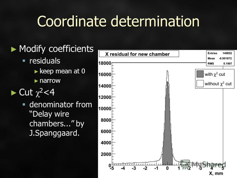 Coordinate determination Modify coefficients Modify coefficients residuals residuals keep mean at 0 keep mean at 0 narrow narrow Cut χ 2