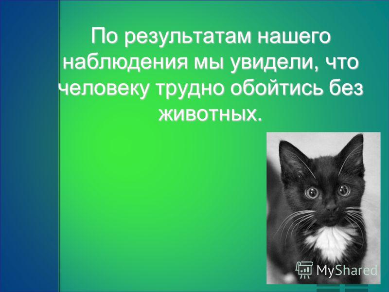 По результатам нашего наблюдения мы увидели, что человеку трудно обойтись без животных.