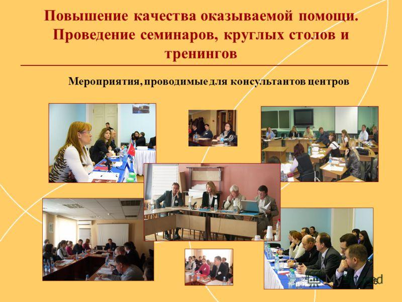 16 Повышение качества оказываемой помощи. Проведение семинаров, круглых столов и тренингов Мероприятия, проводимые для консультантов центров
