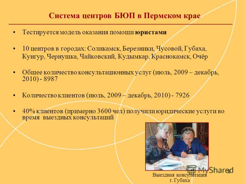 9 Тестируется модель оказания помощи юристами 10 центров в городах: Соликамск, Березники, Чусовой, Губаха, Кунгур, Чернушка, Чайковский, Кудымкар, Краснокамск, Очёр Общее количество консультационных услуг (июль, 2009 – декабрь, 2010) - 8987 Количеств