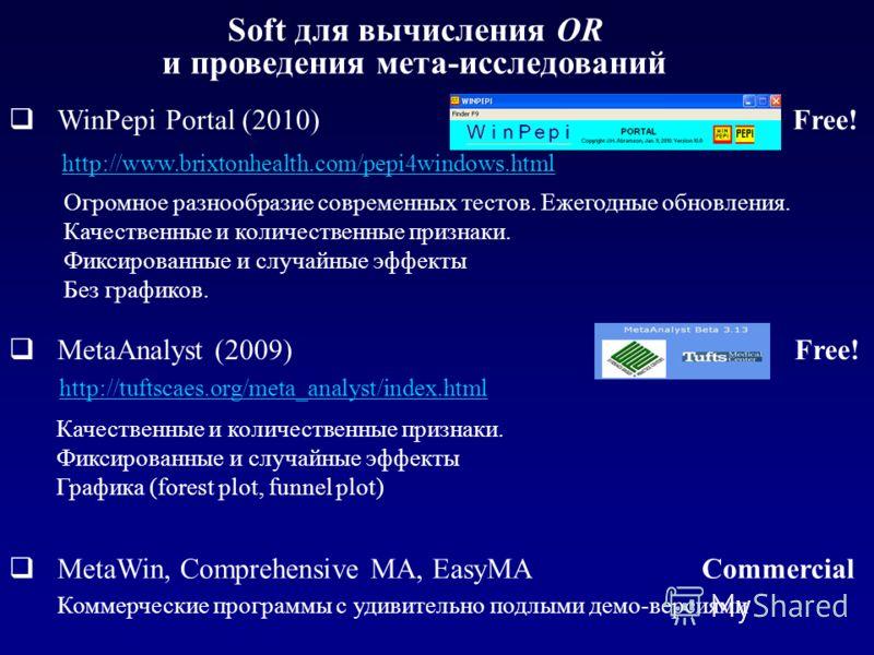 Soft для вычисления OR и проведения мета-исследований Качественные и количественные признаки. Фиксированные и случайные эффекты Графика (forest plot, funnel plot) WinPepi Portal (2010) Free! http://www.brixtonhealth.com/pepi4windows.html MetaAnalyst