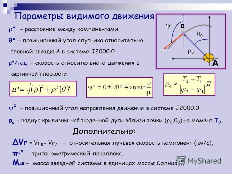 Параметры видимого движения расстояние между компонентами θº позиционный угол спутника относительно главной звезды А в системе J2000.0 μ /год скорость относительного движения в картинной плоскости º позиционный угол направления движения в системе J20