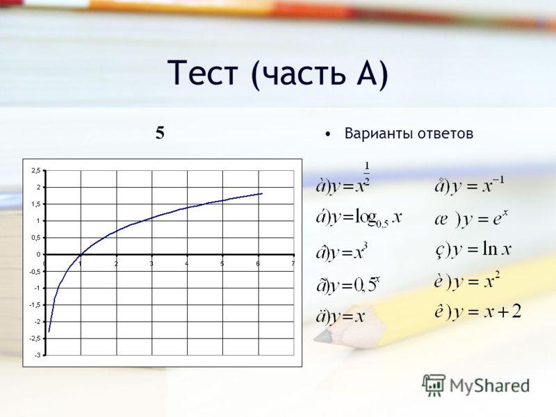 Тест (часть А) Варианты ответов 5