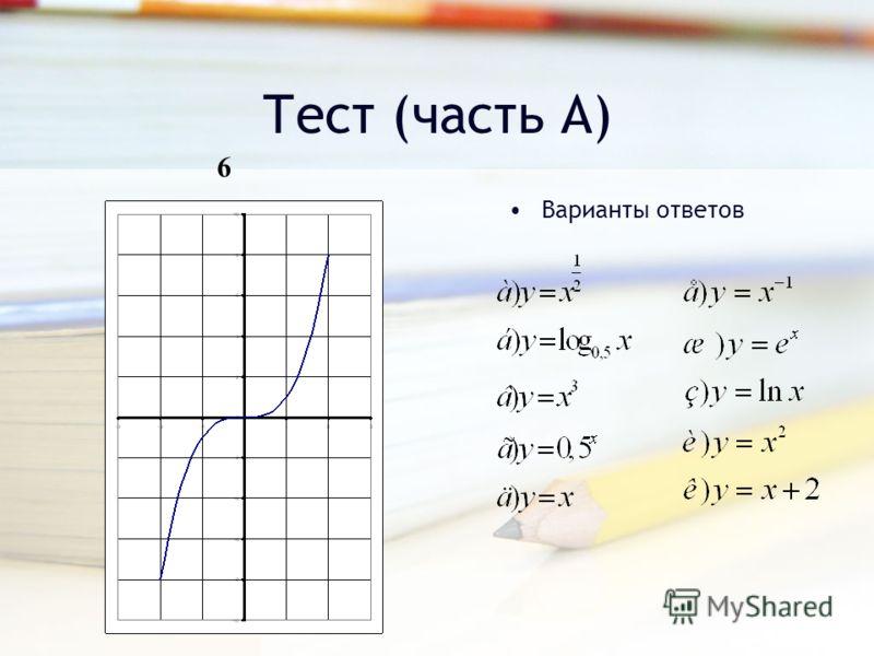 Тест (часть А) Варианты ответов 6