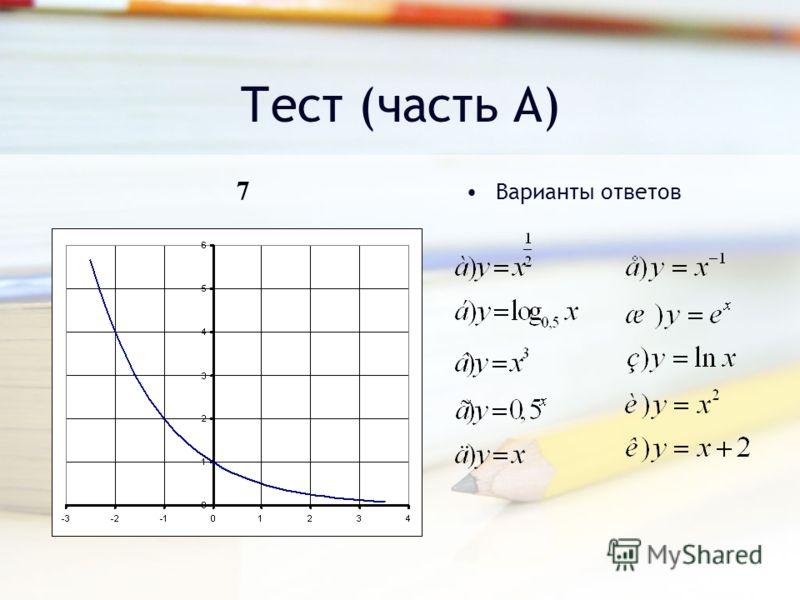 Тест (часть А) Варианты ответов 7