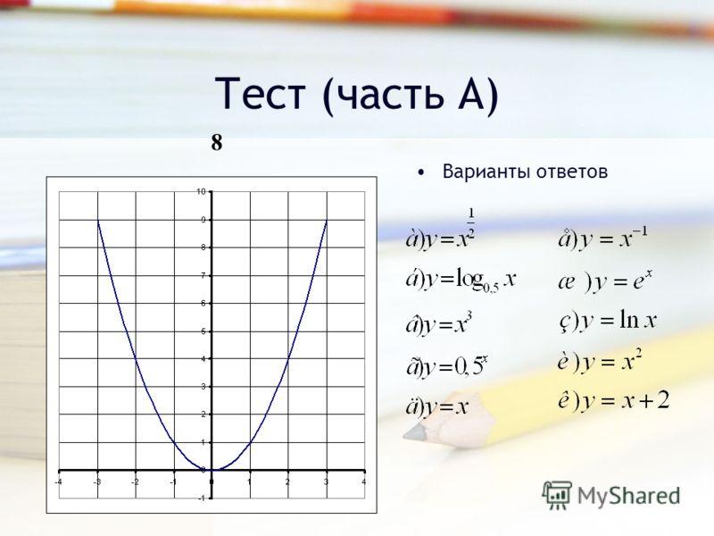 Тест (часть А) Варианты ответов 8