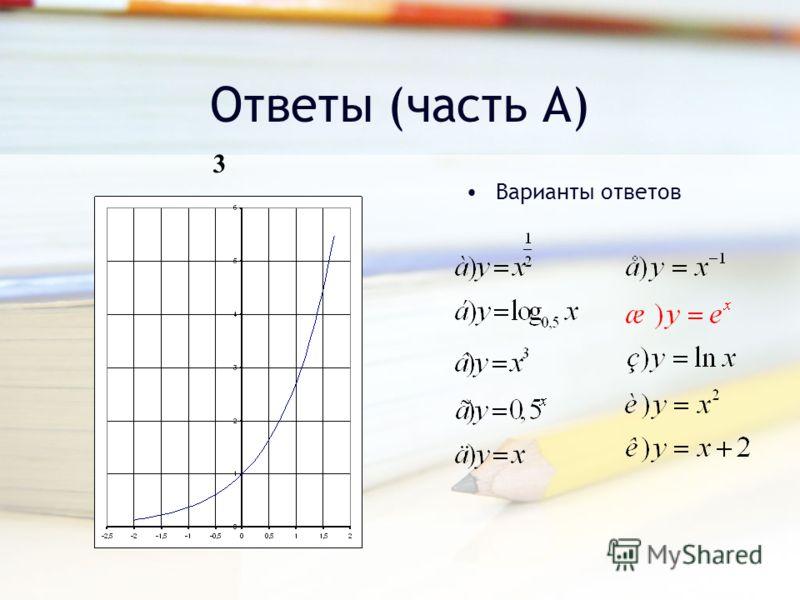 Ответы (часть А) Варианты ответов 3