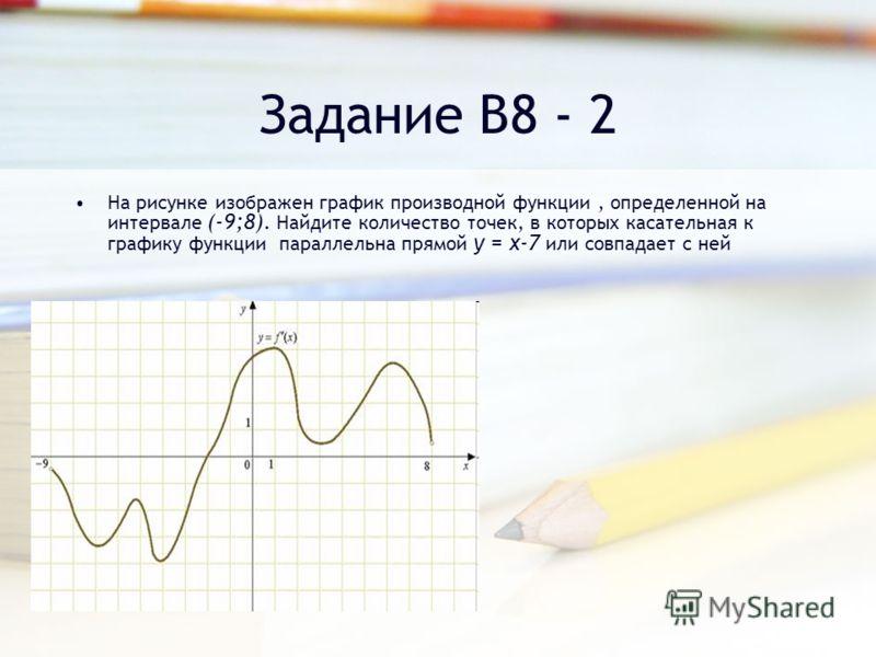 На рисунке изображен график производной функции, определенной на интервале (-9;8). Найдите количество точек, в которых касательная к графику функции параллельна прямой y = x-7 или совпадает с ней Задание В8 - 2