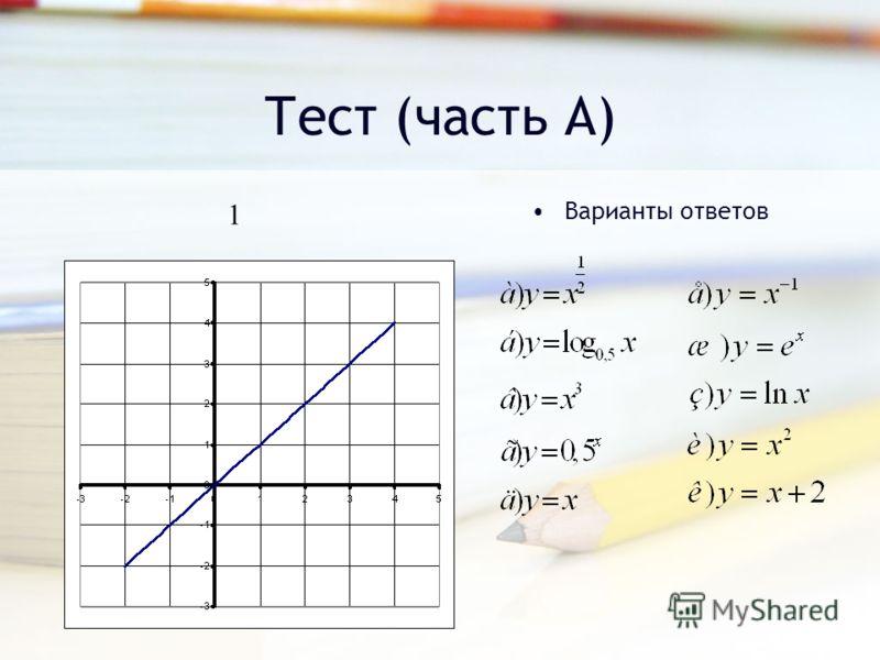 Тест (часть А) Варианты ответов 1