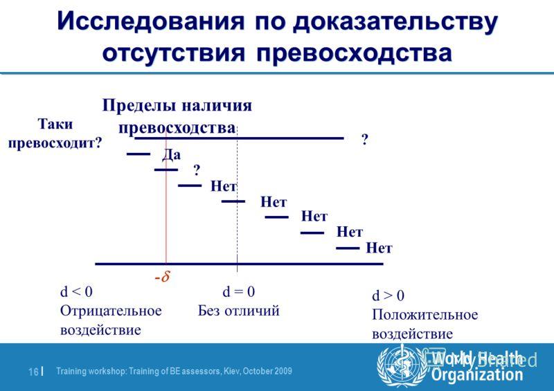 Training workshop: Training of BE assessors, Kiev, October 2009 16 | Исследования по доказательству отсутствия превосходства d < 0 Отрицательное воздействие d = 0 Без отличий d > 0 Положительное воздействие - Пределы наличия превосходства Таки превос