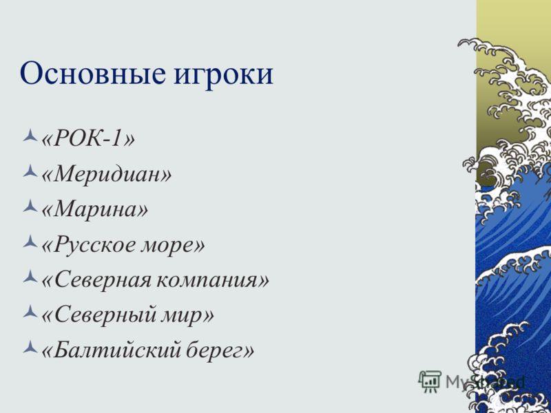 Основные игроки «РОК-1» «Меридиан» «Марина» «Русское море» «Северная компания» «Северный мир» «Балтийский берег»