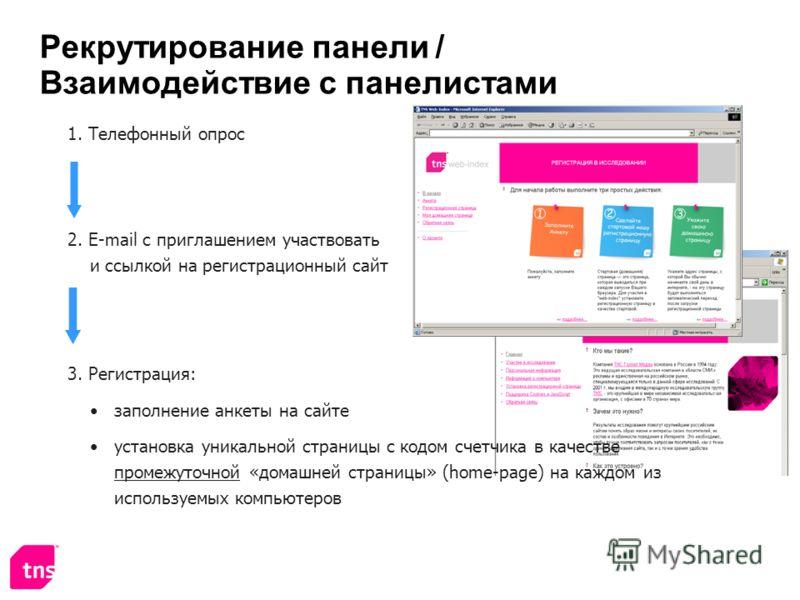 Рекрутирование панели / Взаимодействие с панелистами 1. Телефонный опрос 2. E-mail с приглашением участвовать и ссылкой на регистрационный сайт 3. Регистрация: заполнение анкеты на сайте установка уникальной страницы с кодом счетчика в качестве проме