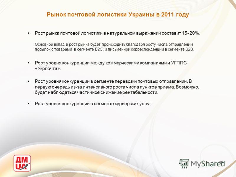 10 Рынок почтовой логистики Украины в 2011 году Рост рынка почтовой логистики в натуральном выражении составит 15- 20%. Основной вклад в рост рынка будет происходить благодаря росту числа отправлений посылок с товарами в сегменте В2С, и письменной ко