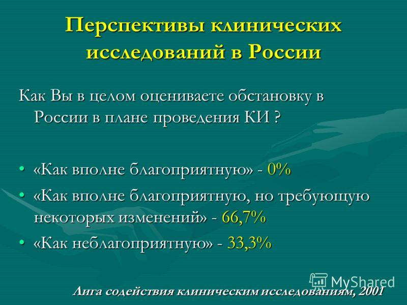 Перспективы клинических исследований в России Как Вы в целом оцениваете обстановку в России в плане проведения КИ ? «Как вполне благоприятную» - 0%«Как вполне благоприятную» - 0% «Как вполне благоприятную, но требующую некоторых изменений» - 66,7%«Ка