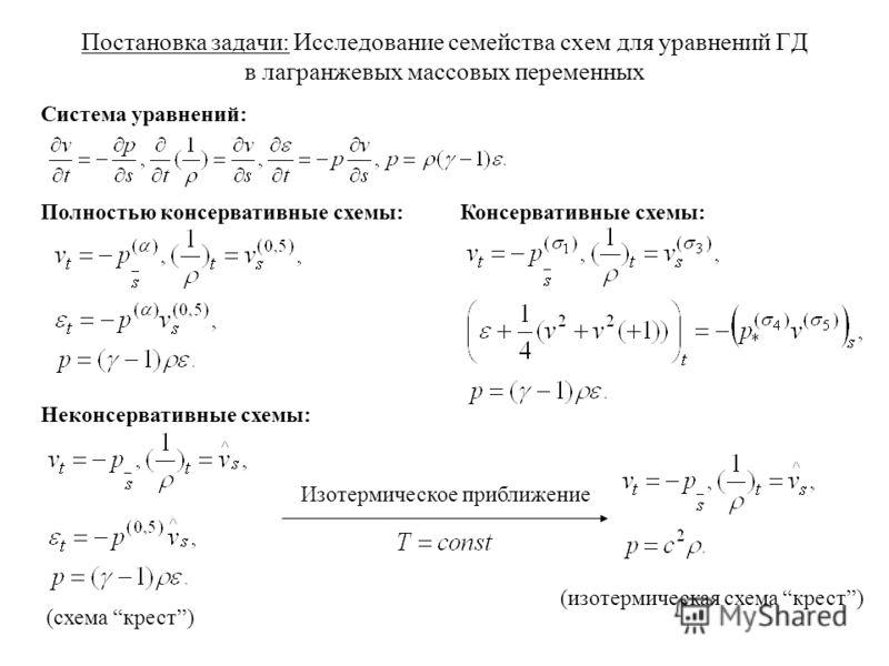 Постановка задачи: Исследование семейства схем для уравнений ГД в лагранжевых массовых переменных Полностью консервативные схемы:Консервативные схемы: Неконсервативные схемы: (схема крест) (изотермическая схема крест) Изотермическое приближение Систе