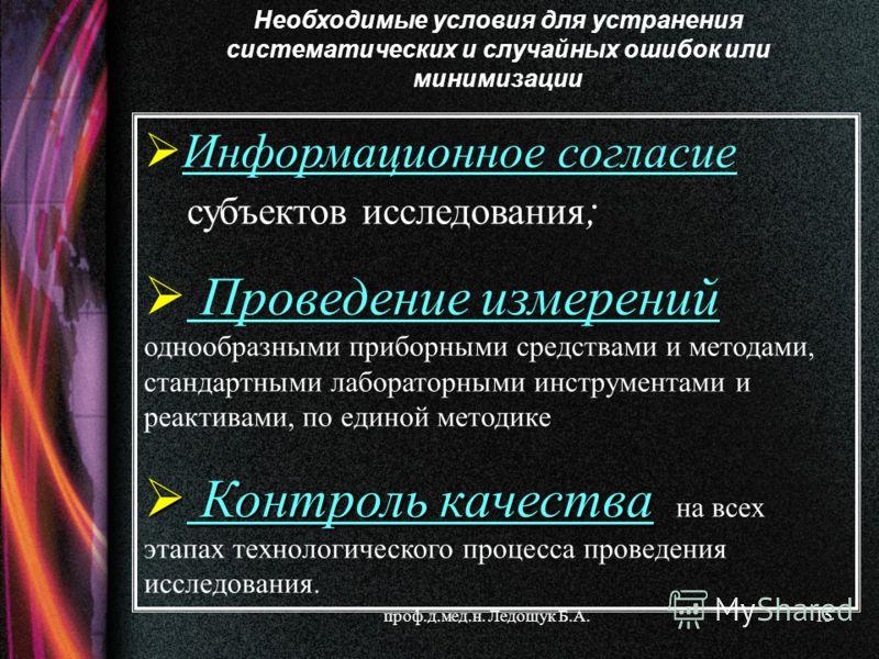 проф.д.мед.н. Ледощук Б.А.15 Информационное согласие субъектов исследования ; Проведение измерений однообразными приборными средствами и методами, стандартными лабораторными инструментами и реактивами, по единой методике Контроль качества Контроль ка