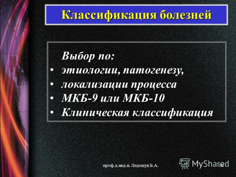 проф.д.мед.н. Ледощук Б.А.19 Выбор по: этиологии, патогенезу, локализации процесса МКБ-9 или МКБ-10 Клиническая классификация Классификация болезней