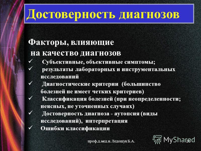 проф.д.мед.н. Ледощук Б.А.20 Факторы, влияющие на качество диагнозов Субъективные, объективные симптомы; результаты лабораторных и инструментальных исследований Диагностические критерии (большинство болезней не имеет четких критериев) Классификация б