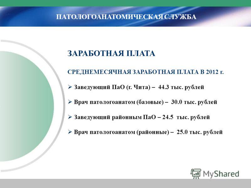 ПАТОЛОГОАНАТОМИЧЕСКАЯ СЛУЖБА ЗАРАБОТНАЯ ПЛАТА СРЕДНЕМЕСЯЧНАЯ ЗАРАБОТНАЯ ПЛАТА В 2012 г. Заведующий ПаО (г. Чита) – 44.3 тыс. рублей Врач патологоанатом (базовые) – 30.0 тыс. рублей Заведующий районным ПаО – 24.5 тыс. рублей Врач патологоанатом (район