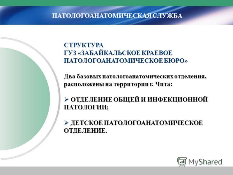 ПАТОЛОГОАНАТОМИЧЕСКАЯ СЛУЖБА СТРУКТУРА ГУЗ «ЗАБАЙКАЛЬСКОЕ КРАЕВОЕ ПАТОЛОГОАНАТОМИЧЕСКОЕ БЮРО» Два базовых патологоанатомических отделения, расположены на территории г. Чита: ОТДЕЛЕНИЕ ОБЩЕЙ И ИНФЕКЦИОННОЙ ПАТОЛОГИИ; ОТДЕЛЕНИЕ ОБЩЕЙ И ИНФЕКЦИОННОЙ ПАТ