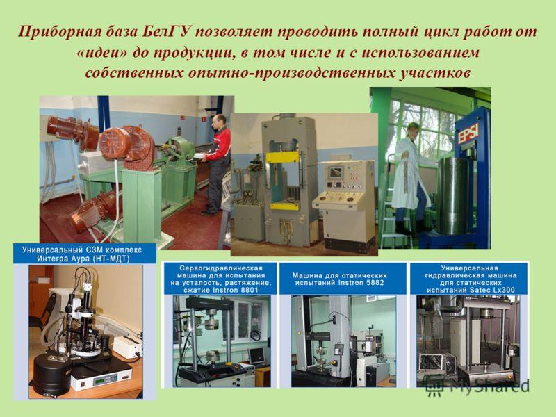 Приборная база БелГУ позволяет проводить полный цикл работ от «идеи» до продукции, в том числе и с использованием собственных опытно-производственных участков