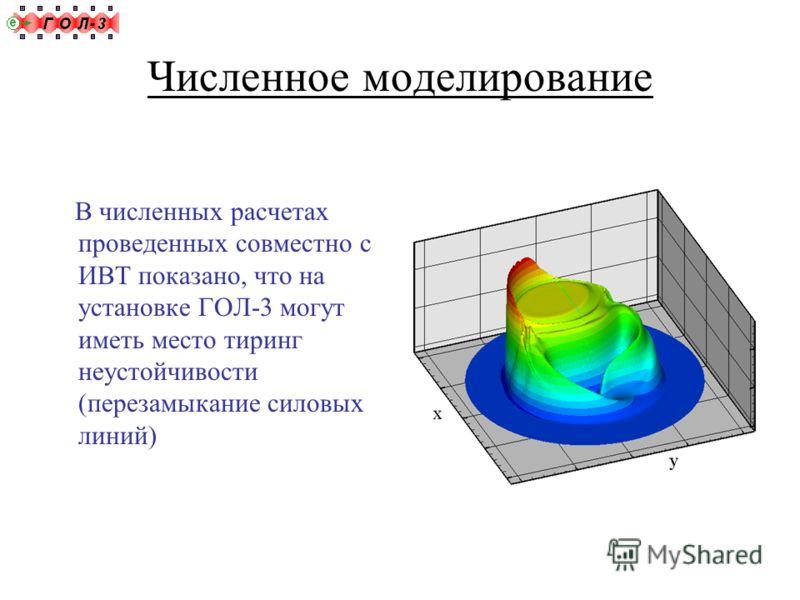 Численное моделирование В численных расчетах проведенных совместно с ИВТ показано, что на установке ГОЛ-3 могут иметь место тиринг неустойчивости (перезамыкание силовых линий)