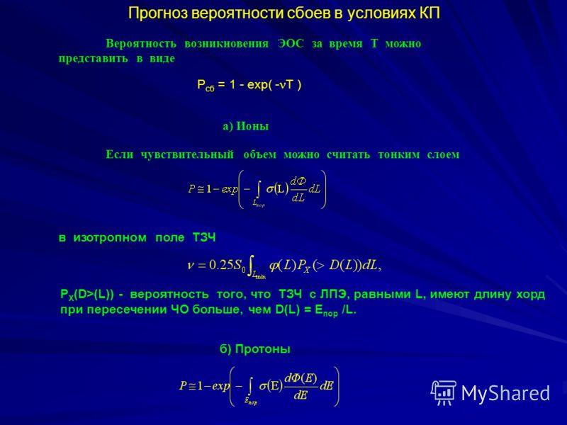 Прогноз вероятности сбоев в условиях КП Вероятность возникновения ЭОС за время Т можно представить в виде Р сб = 1 - exp( - T ) а) Ионы Если чувствительный объем можно считать тонким слоем в изотропном поле ТЗЧ P X (D>(L)) - вероятность того, что ТЗЧ