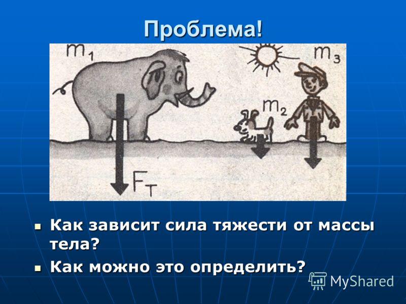 Проблема! Как зависит сила тяжести от массы тела? Как зависит сила тяжести от массы тела? Как можно это определить? Как можно это определить?